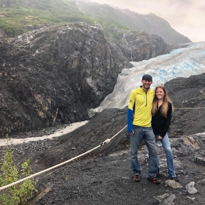 """Photo of Zack and Farrel DeBaltzo at the top of Exit Glacier in Alaska, after climbing there post-healing. Used to illustrate the blog, """"Identity Crisis""""."""